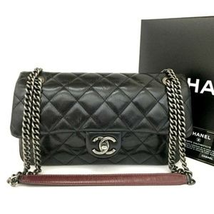 💯 Auth CHANEL Quilted Crinkled Leather Chain Bag
